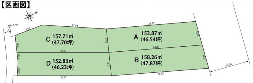区画図(新津本町3丁目4区画-1